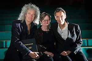Brian May, Paula Fleming, Denis Pelerin at DMU
