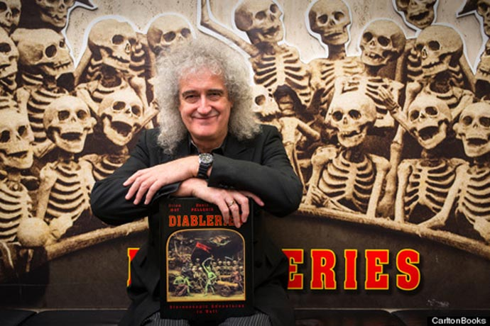 Brian May at Diableries Press Launch- with skeletons