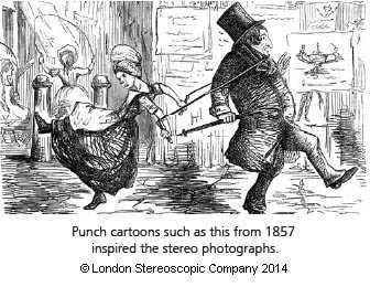 Punch cartoons such as this from 1857 inspired the stereo photographs