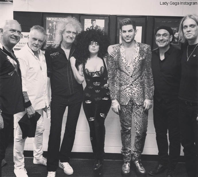 Lady Gaga and Queen + Adam Lambert band